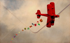 Picture red, the plane, gifts, mail