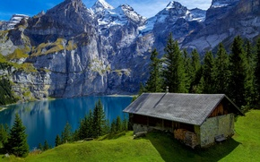 Picture forest, trees, mountains, lake, rocks, Switzerland, wood, house, Sunny, benches, hill