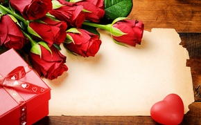 Picture flowers, gift, roses, bouquet, red, heart