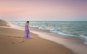 Picture sand, beach, girl, dress
