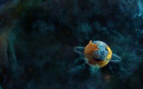 Picture space, nebula, planet, orbit, Mozilla, firefox, planet