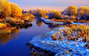 Picture frost, autumn, the sky, snow, trees, river