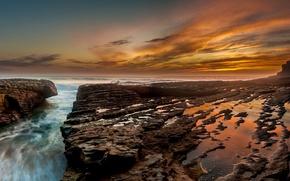 Picture sea, landscape, sunset