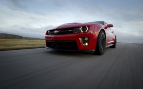 Picture road, the sky, clouds, red, speed, red, Chevrolet, camaro, chevrolet, road, speed, Camaro, zl1, зл1