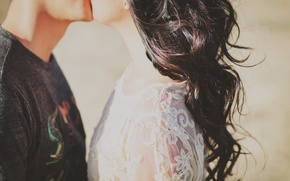 Picture girl, hair, kiss, guy
