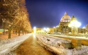 Wallpaper lights, night, snow, Night, Boston, trees