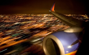 Wallpaper lights, the plane, wing, night