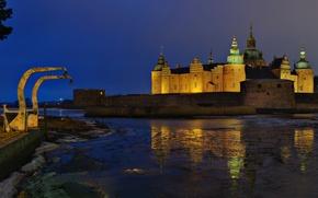 Picture night, the city, river, photo, castle, Sweden, Kalmar