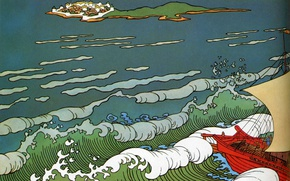 Picture wave, ship, island, Bilibin Ivan Yakovlevich (1876-1942), A collection of paintings by Russian and Soviet …