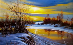 Picture Khodukov, snow, nature, painting, shore, the bushes, birds, water, the sun, landscape, river, ice, sunset