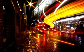 Picture night, movement, street, England, London, excerpt, night, street, London, England, movement, exposure