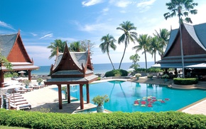 Picture palm trees, the ocean, pool, Thailand, resort