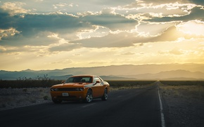 Picture road, the sun, clouds, hills, lights, silhouette, wheel, Dodge, Challenger
