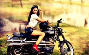 Picture shorts, shoes, motorcycle, helmet, Triumph, Triumph Scrambler 900, Triumph Scrambler