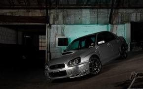 Wallpaper garage, tilt, Subaru Impreza WRX