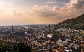 Picture clouds, river, home, Germany, panorama, Heidelberg