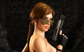 Picture look, girl, gun, hair, glasses, lara croft, tomb raider
