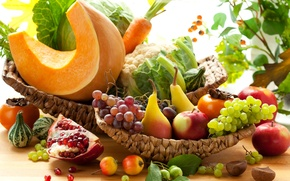 Picture autumn, apples, grapes, pumpkin, fruit, vegetables, pear, carrots, cabbage, garnet, persimmon