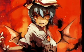 Picture blood, wings, spot, red eyes, touhou, madness, Vampire, Remilia Scarlet