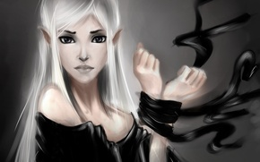 Picture girl, hands, art, elf, white hair, related