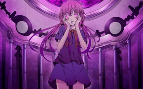 Wallpaper girl, anime, art, bows, future diary, mirai nikki, gasai yuno, the king the king