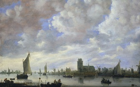Picture clouds, boat, picture, sail, Jeronymus van Diest II, View of the Merwede before Dordrecht