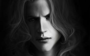 Picture portrait, look, Male, long hair