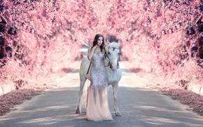 Picture road, girl, horse, Alessandro Di Cicco, My fantasy world