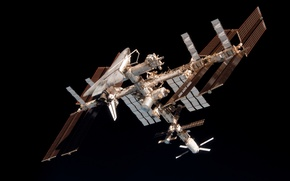 Picture BACKGROUND, STATION, BLACK, BATTERY, SHUTTLE, SOLAR, SPACE, PANEL