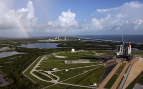 Wallpaper HORIZON, The SKY, CLOUDS, COAST, ROCKET, SPACEPORT, MEDIA, TRAINING, ROAD, SHUTTLES, INSTALLATION, RAINBOW