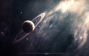 Picture ring, planet, stars, nebula, space