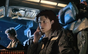 Picture others, alien, spaceship, Ellen Ripley, Sigourney Weaver, Joan Lambert, USCSS Nostromo, Veronica Cartwright, Nostromo