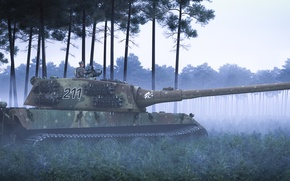 Picture forest, grass, fog, people, art, tank, 211