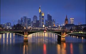 Picture night, bridge, lights, Germany, Frankfurt, Frankfurt am main, Frankfurt