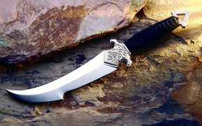 Picture Rock, Stone, Weapons, The handle, Engraving, Dagger