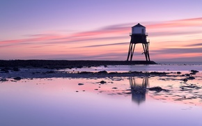 Picture sea, the sky, dawn, shore, lighthouse, England, UK, lilac