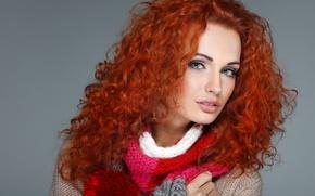 Picture girl, face, model, hair, makeup, scarf, lips, red, jacket, green eyes, binding, kudrejka