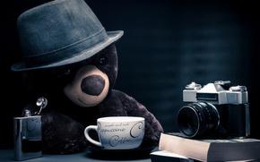 Wallpaper cappuccino, thoughtful, bear, photographer, table, teddy bear, fantasy, nostalgia, location, hat, coffee, nostalgic, journalist, blue ...