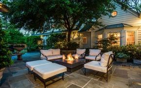 Picture furniture, Villa, the evening, hearth, terrace
