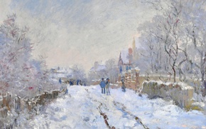 Picture winter, landscape, picture, Claude Monet, Snow Scene at Argenteuil