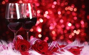 Wallpaper flowers, roses, bokeh, glasses, red, wine, red
