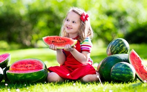 Picture summer, grass, the sun, joy, smile, child, watermelon, bow, beautiful, sun, little girl, Little girls, …