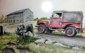 Picture road, machine, figure, dog, SUV, Land Rover, painting, Series 1