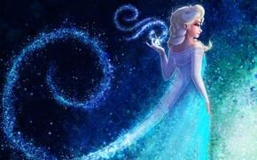 Picture look, snowflakes, cartoon, dress, art, white hair, Queen Elsa Frozen