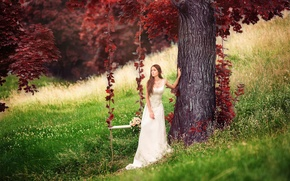 Picture girl, swing, tree, Red forest