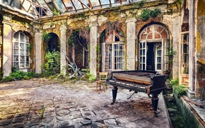 Picture music, background, piano, yard