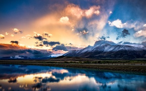 Picture the sky, clouds, light, mountains, reflection, New Zealand, South island