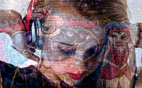 Picture Rock Chick, headphones, graffiti, girl