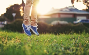 Wallpaper grass, sneakers, light, feet