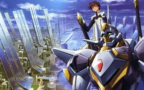 Picture the sky, megapolis, art, code geass, combat robot, takahiro himura, suzaku kururugi